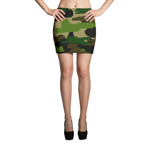 Anzu Alluring Green Camouflage Military Army Print Women's Mini Skirt - Made in USA/ EU