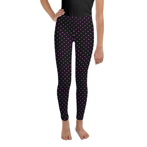 Pink Polka Dots Youth Leggings, Dotted Workout Tights-Made in USA/EU-Heidi Kimura Art LLC-8-Heidi Kimura Art LLC Pink Polka Dots Youth Leggings, Dotted Workout Exercise Tights, Premium Quality Designer Unisex/ Girl Bottoms Winter Essentials Sports Gym 38-40 UPF Youth Leggings, Made in USA/ MX/ EU, Youth Leggings,  Girl or Boy Leggings, Leggings With Dots, Yoga Pants/ Tights (US Size: 8-20)