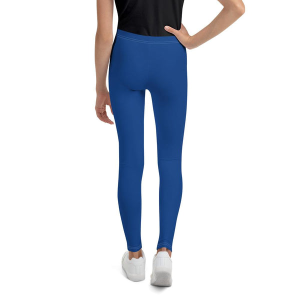 Navy Blue Solid Color Premium Youth Gym Sports Comfy Leggings Tight- Made in USA-Youth's Leggings-Heidi Kimura Art LLC