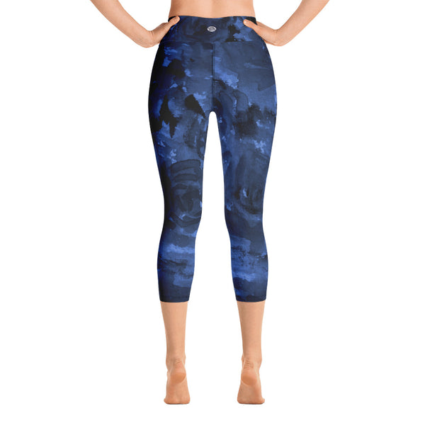 Deep Blue Rose Floral Print Capri Leggings w/ Pockets Women's Yoga Pants-Capri Yoga Pants-Heidi Kimura Art LLC