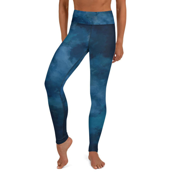 Blue Women's Long Yoga Leggings, Abstract Cloud Print Tights/Pants - Made in USA/ EU-Leggings-XS-Heidi Kimura Art LLC