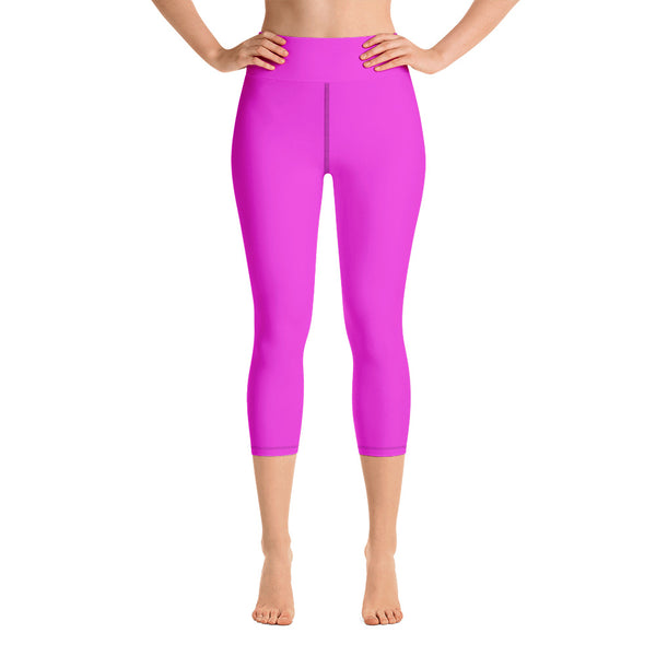Bright Solid Hot Pink Capri Leggings, Sports Fitness Yoga Pants-Made in USA/ EU (XS-XL)-Capri Yoga Pants-XS-Heidi Kimura Art LLC