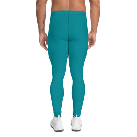 Teal Blue Men's Leggings, Solid Color Meggings Compression Tights-Made in USA/EU-Heidi Kimura Art LLC-Heidi Kimura Art LLC Teal Blue Men's Leggings, Solid Color Sexy Meggings Men's Workout Gym Tights Leggings, Men's Compression Tights Pants - Made in USA/ EU (US Size: XS-3XL)