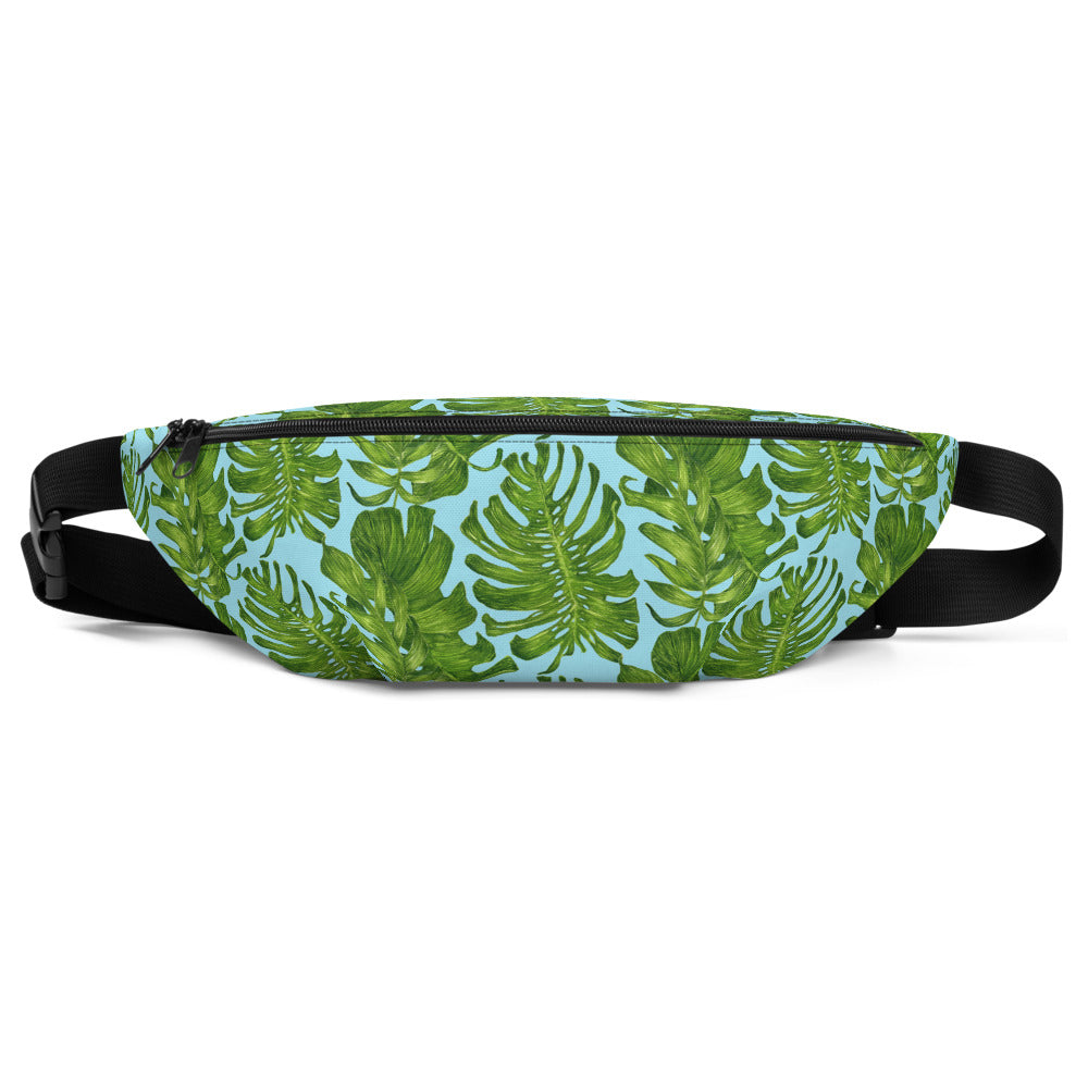 Light Blue Tropical Leaf Print Designer Fanny Pack Waist Belt Festival Bag- Made in USA-Fanny Pack-S/M-Heidi Kimura Art LLC