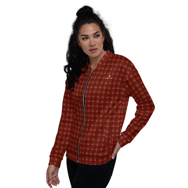 Red Plaid Print Bomber Jacket, Unisex Bomber Jacket For Men/ Women-Heidi Kimura Art LLC-Heidi Kimura Art LLC Red Plaid Print Bomber Jacket, Classic Preppy Traditional Style Premium Quality Modern Unisex Jacket For Men/Women With Pockets-Made in EU