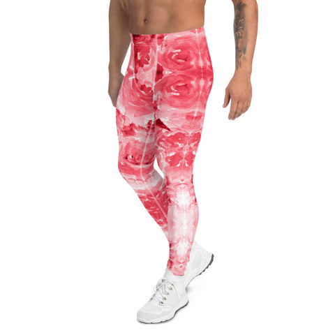 Red Floral Print Men's Leggings, Abstract Rose Meggings Compression Tights-Heidi Kimura Art LLC-Heidi Kimura Art LLC Red Floral Print Men's Leggings, Abstract Rose Meggings Men's Workout Gym Tights Leggings, Men's Compression Tights Pants - Made in USA/ EU (US Size: XS-3XL)