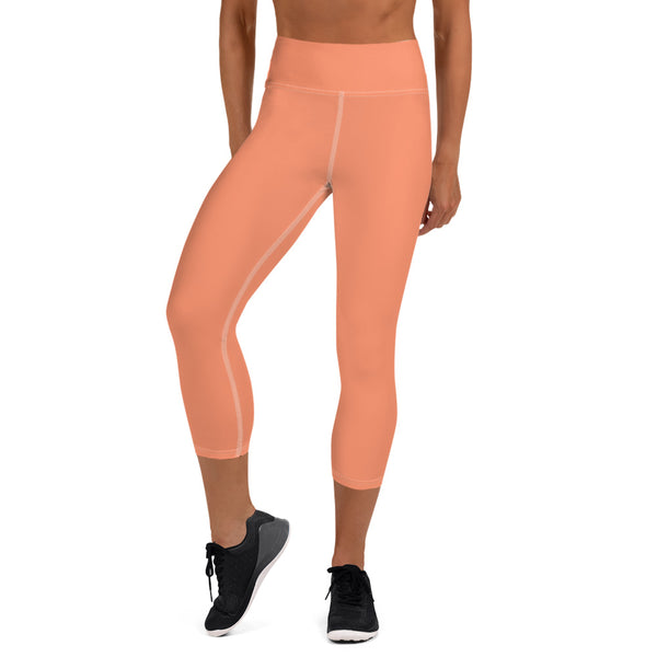 Peach Pink Bridesmaid Text Designer Women's Yoga Capri Leggings- Made in USA - Heidi Kimura Art LLC