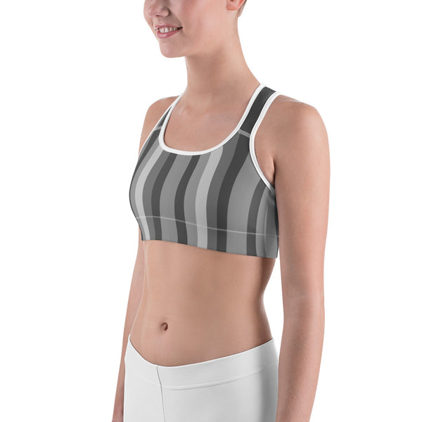 Gray Vertically Striped With Red Hearts All-American Women's Sports Bra-Sports Bras-Heidi Kimura Art LLC Gray Striped Women's Bra, Gray Vertically Striped With Red Hearts All-American Women's Sports Bra - Made in USA/EU (US Size: XS-2XL)