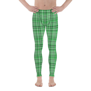 Light Green Tartan Plaid Men's Running Leggings & Run Tights Meggings Activewear-Men's Leggings-XS-Heidi Kimura Art LLC Green Plaid Meggings, Light Green Tartan Plaid Men's Running Leggings & Run Tights Meggings Activewear- Made in USA/ Europe (US Size: XS-3XL)