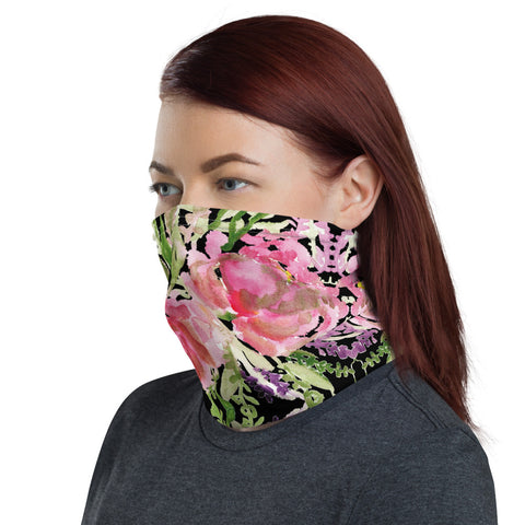 Black Rose Face Mask, Face Cover Shield, Reusable Washable Bandana-Made in USA/EU-Neck Gaiter-Printful-Heidi Kimura Art LLC