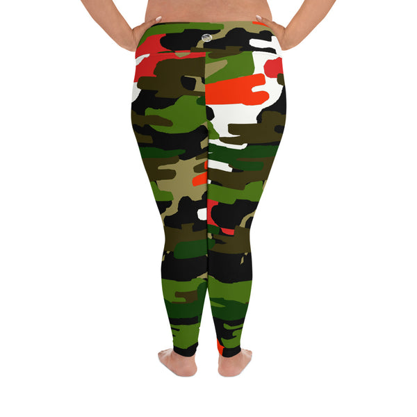 White Orange Green Military Print Women's Tights Plus Size Leggings - Made in USA-Women's Plus Size Leggings-Heidi Kimura Art LLC
