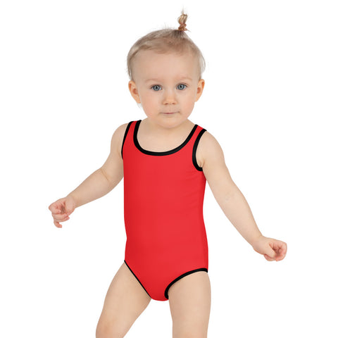 Bright Red Girl's Swimwear, Modern Simple Solid Color Print Girl's Kids Luxury Premium Modern Fashion Swimsuit Swimwear Bathing Suit Children Sportswear- Made in USA/EU (US Size: 2T-7)