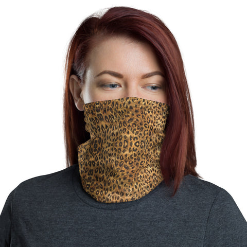 Leopard Print Mask Bandana, Animal Print Face Mask Shield, Luxury Premium Quality Cool And Cute One-Size Reusable Washable Outdoor Anti-Dust Scarf Headband Bandana - Made in USA/EU, Face Neck Warmers, Non-Medical Breathable Face Covers, Neck Gaiters, Face Mouth Cloth Coverings