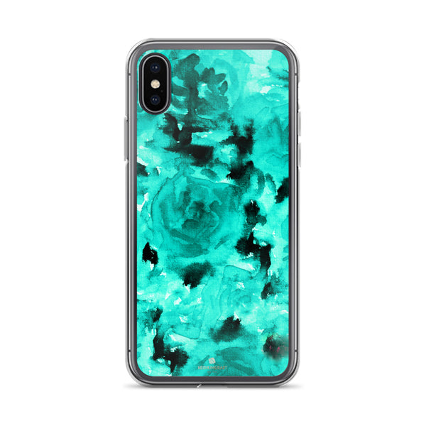 Teal Blue Rose Floral, iPhone X | XS | XR | XS Max | 8 | 8+ | 7| 7+ |6/6S | 6+/6S+ Case- Made in USA-Phone Case-iPhone X-Heidi Kimura Art LLC