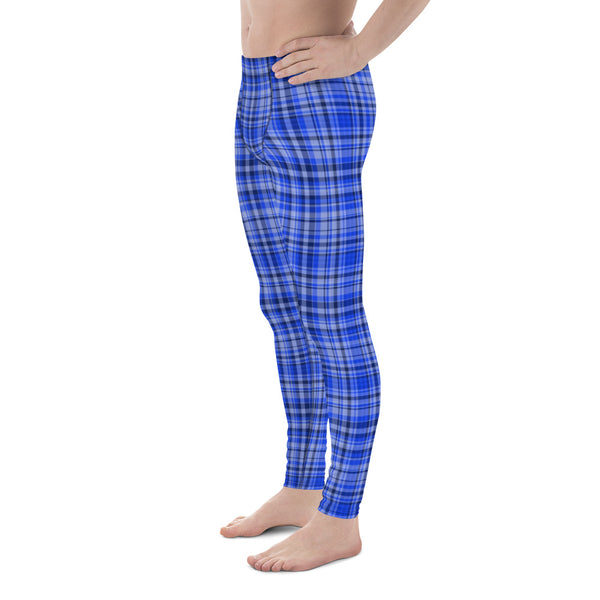 Blue Tartan Plaid Print Meggings, Men's Running Leggings Soft Tights- Made in USA/ EU-Men's Leggings-Heidi Kimura Art LLC