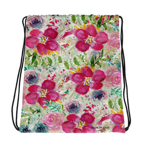 "Pink Queen Floral Print Designer Travel 15""x17"" Drawstring Bag- Made in USA/Europe-Drawstring Bag-Heidi Kimura Art LLC"