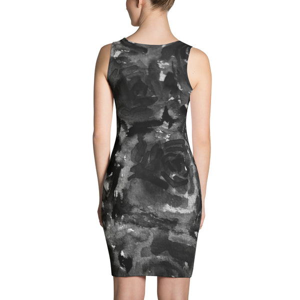 Black Rose Floral Print Dress, Black Abstract Rose Floral Print Women's Long Sleeveless Designer Premium Dress - Made in USA/EU (US Size: XS-XL) Black Zombie Rose Floral Print Women's Long Sleeveless Designer Dress - Made in USA-Women's Sleeveless Dress-Heidi Kimura Art LLC