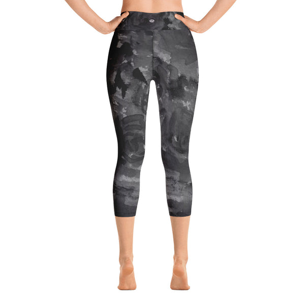 Gray Rose Floral Print Capri Leggings, Best Women's Yoga Pants For Women- Made in USA/EU-Capri Yoga Pants-Heidi Kimura Art LLC