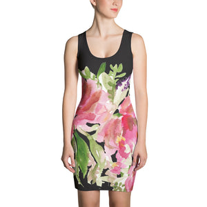 Green Women's 1-pc Black Pink Floral Print Women's Sleeveless Dress - Made in USA/EU-Women's Sleeveless Dress-XS-Heidi Kimura Art LLC