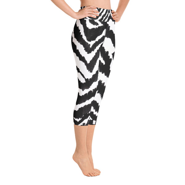 White Black Zebra Stripe Animal Print Women's Yoga Capri Leggings- Made in USA (XS-XL)-Capri Yoga Pants-Heidi Kimura Art LLC