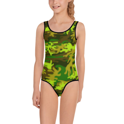 Green Army Camo Military Kids Soldiers Print Girl's Swimsuit Swimwear- Made in USA-Kid's Swimsuit (Girls)-2T-Heidi Kimura Art LLC