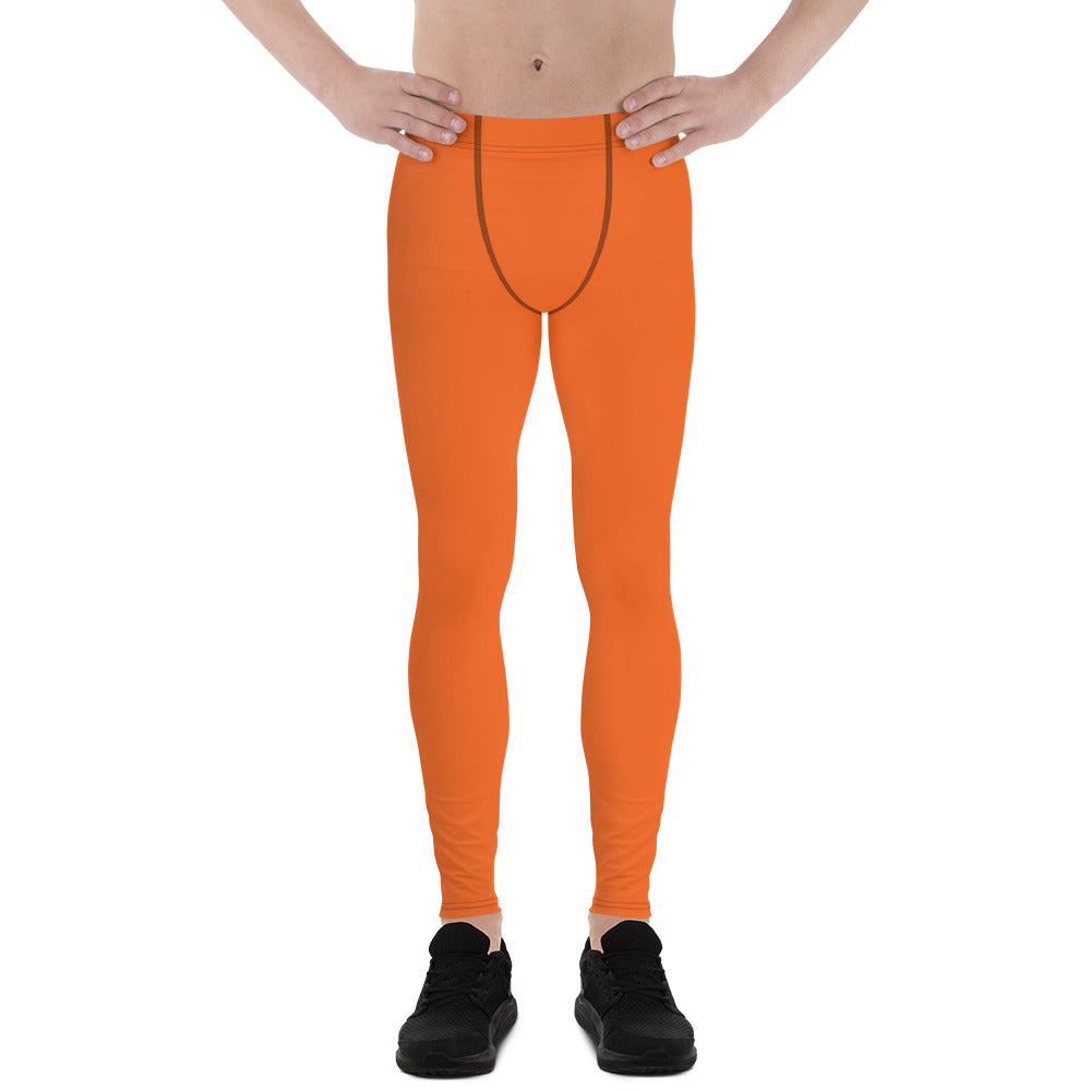 Dusty Desert Orange Solid Color Men's Leggings Meggings - Made in USA/EU (US Size: XS-3XL)-Men's Leggings-XS-Heidi Kimura Art LLC