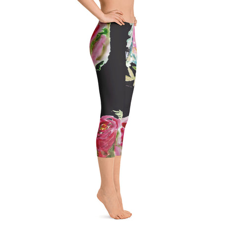 Rose Floral Black Pink Stylish Women's Fashion Casual Capri Leggings-Made in USA-capri leggings-Heidi Kimura Art LLC Rose Floral Black Capris Tights, Rose Floral Black Pink Stylish Women's Fashion Casual Capri Leggings-Made in USA/EU/MX (US Size: XS-XL)