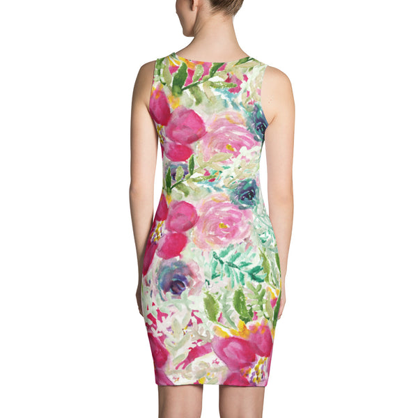 Shocking Pink Rose Floral Print Long Sleeveless Premium Women's Dress -Made in USA/EU-Women's Sleeveless Dress-Heidi Kimura Art LLC