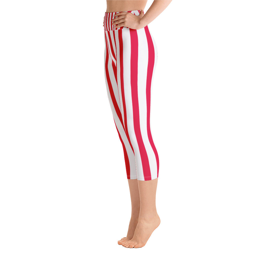 5a12ef6be9ebb2 Mayo Red White Vertically Striped Print Capri Leggings Women's Yoga Pants  w/ Pockets - Made in USA