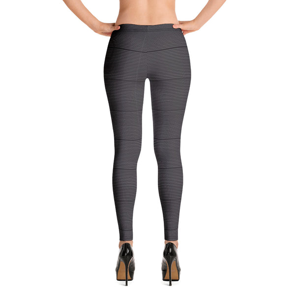 Black Striped Women's Fancy Leggings, Modern Ladies Casual Tights- Made in USA/ EU-Heidikimurart Limited -Heidi Kimura Art LLC Modern Striped Ladies Casual Tights, Best Black White Stripes Sexy Modern Women's Long Dressy Casual Fashion Leggings/ Running Tights - Made in USA/ EU/ MX (US Size: XS-XL)
