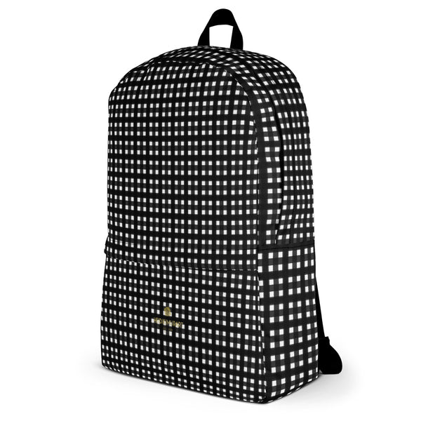 Black White Buffalo Plaid Print Classic Travel School Backpack Bag- Made in USA/EU-Backpack-Heidi Kimura Art LLC
