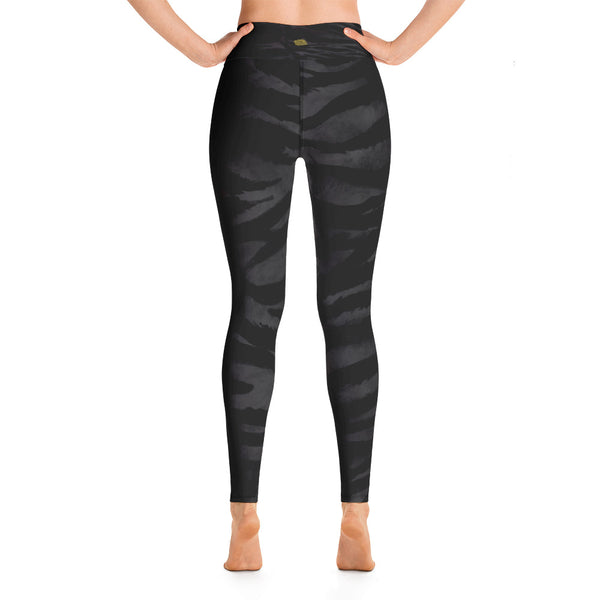 Dark Black Tiger Stripe Animal Skin Pattern Active Wear Fitted Leggings - Made in USA-Leggings-Heidi Kimura Art LLC Black Tiger Stripe Women's Leggings, Dark Black Women's Tiger Stripe Animal Skin Pattern Active Wear Fitted Leggings Sports Long Yoga & Barre Pants - Made in USA/EU