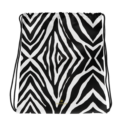 "Chic Black White Zebra Animal Print Designer Drawstring 15""x17"" Bag- Made in USA/EU-Drawstring Bag-Heidi Kimura Art LLC Zebra Drawstring Bag, Chic Black White Zebra Animal Print Men's or Women's 15""x17"" Designer Premium Quality Best Drawstring Bag-Made in USA/Europe"