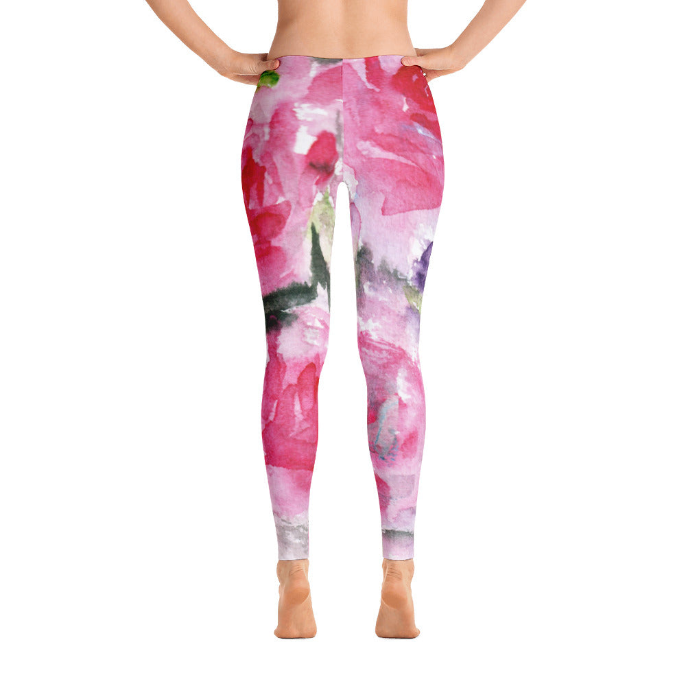 Misty Pink Rose Floral Print Women's Long Casual Leggings/ Running Tights - Made in USA (US Size: XS-XL)-Casual Leggings-XS-Heidi Kimura Art LLC
