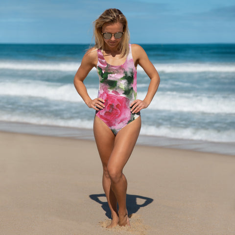 Pink Rose Women's Swimwear, Floral Print Luxury One-Piece Swimsuit-Made in USA/EU-Heidi Kimura Art LLC-XS-Heidi Kimura Art LLC Pink Floral Women's Swimwear, Garden Pink Floral Print Women's Luxury 1-Piece Swimwear Bathing Suits, Beach Wear - Made in USA/EU (US Size: XS-3XL) Plus Size Available