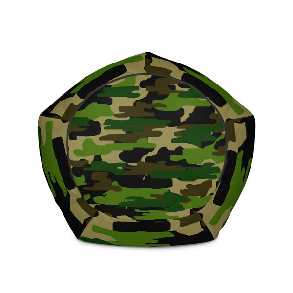 Green Camo Camouflage Military Army Print Polyester Bean Sofa Bag-Made in Europe-Bean Bag-Heidi Kimura Art LLC