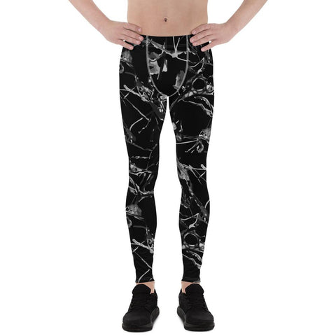 Black Marble Print Meggings, Men's Leggings Compression Tights Pants - Made in USA/ EU-Men's Leggings-XS-Heidi Kimura Art LLC