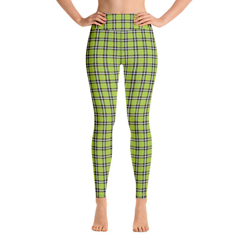 Green Plaid Print Yoga Leggings, Tartan Plaid Print Women's Tights-Made in USA/EU-Heidikimurart Limited -Heidi Kimura Art LLC Green Plaid Print Yoga Leggings, Scottish Tartan Plaid Print Classic Designer Modern Women's Gym Workout Active Wear Fitted Leggings Sports Long Yoga & Barre Pants - Made in USA/EU/MX (US Size: XS-6XL)
