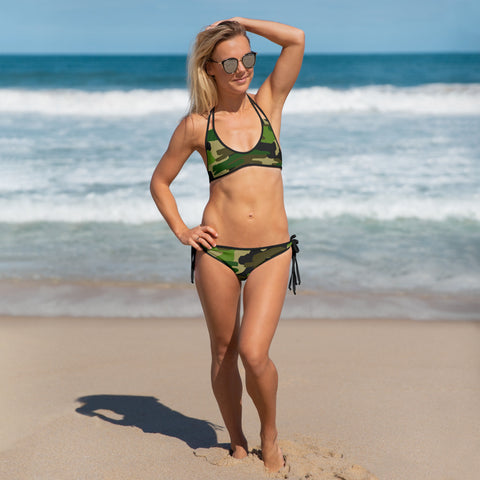 Green Camo Print Women's Bikini, Military Army Swimwear-Made in USA/EU-Heidi Kimura Art LLC-Heidi Kimura Art LLC Green Camo Print Women's Bikini, Military Army Print Bikini Women's 2 pc Designer Swimsuit Swimwear- Made in USA/EU