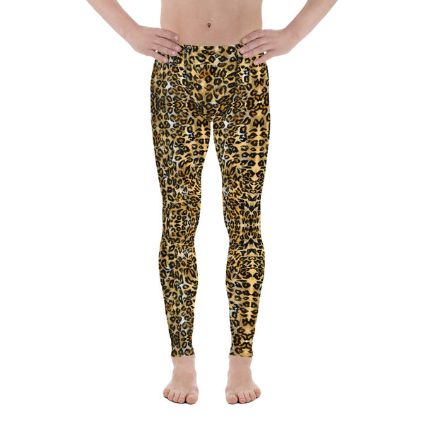 Brown Leopard Men's Leggings, Animal Print Meggings Compression Tights-Made in USA/EU-Heidi Kimura Art LLC-Heidi Kimura Art LLC