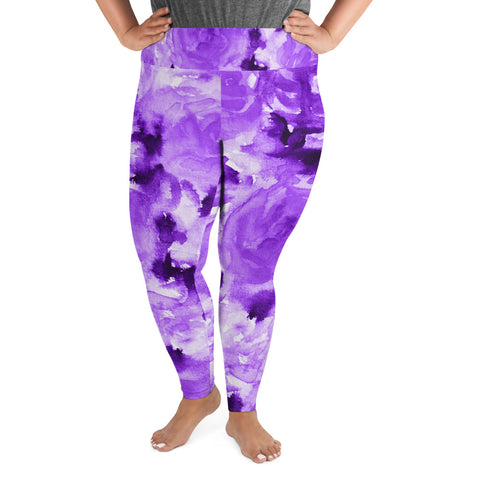 Purple Floral Plus Size Leggings, Abstract Flower Plus Size Leggings, Sporty Modern Women's Premium High Rise Ankle Length Plus Size Leggings - Made in USA/EU (US Size: 2XL-6XL)