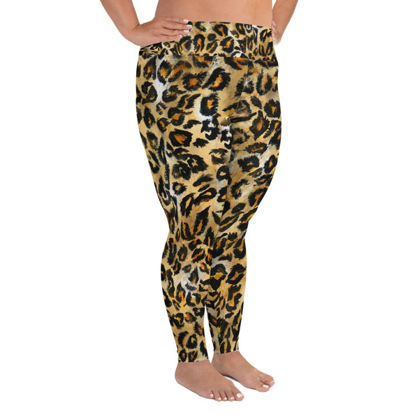 Leopard Print Plus Size Leggings, Women's Animal Print Long Yoga Pants-Made in USA/EU-Women's Plus Size Leggings-Heidi Kimura Art LLC