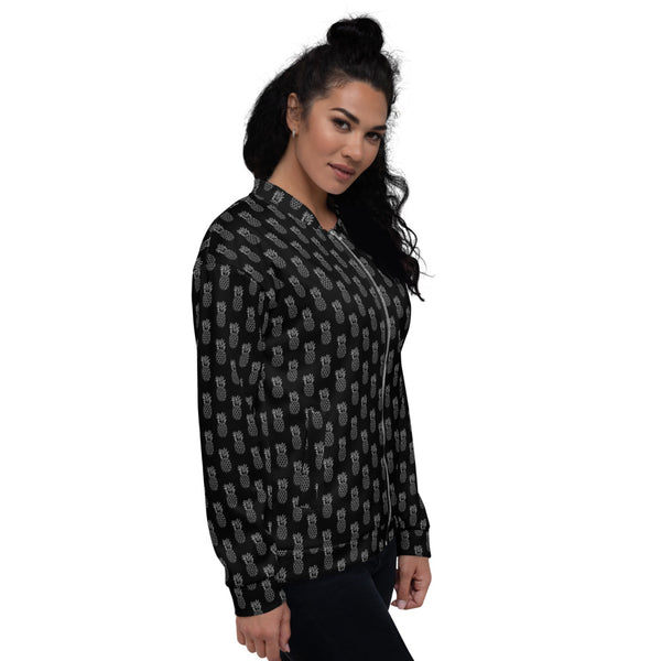 Black Pineapple Bomber Jacket, Premium Quality Modern Unisex Jacket For Men/Women With Pockets-Made in EU