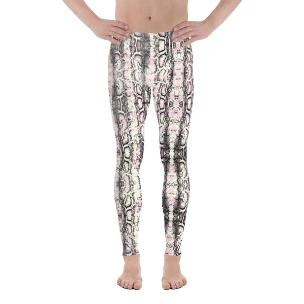 Snakeskin Print Men's Leggings, Reptile Snake Print Men Tights-Made in USA/EU-Heidikimurart Limited -Heidi Kimura Art LLCLight Pink Snakeskin Print Meggings, Pale Pink Reptile Snake Print Men's Leggings, Snake Reptile Print Men's Leggings Tights Pants - Made in USA/EU/MX (US Size: XS-3XL) Sexy Meggings Men's Workout Gym Tights Leggings, Snake Print Pants, Snakeskin Leggings, Animal Print Leggings, Snake Print Pants