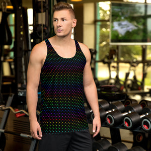Black Rainbow Polka Dots Print Gay Friendly Colorful Unisex Tank Top- Made in USA-Men's Tank Top-XS-Heidi Kimura Art LLC