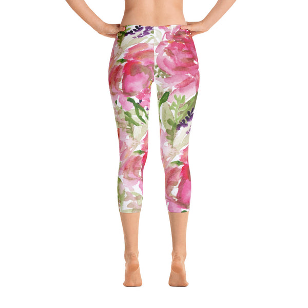 Pink Rose Girlie Floral Women's Athletic Capri Leggings Activewear - Made in USA-capri leggings-XS-Heidi Kimura Art LLC