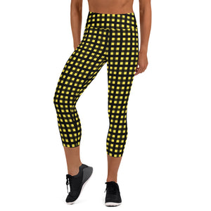 Yellow Buffalo Capris Leggings, Plaid Print Yoga Capri Women's Tights- Made in USA/EU-Capri Yoga Pants-XS-Heidi Kimura Art LLC