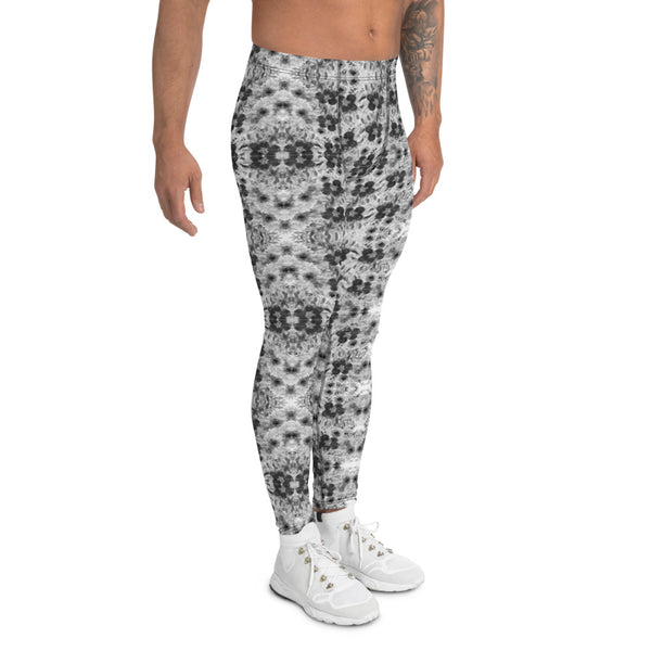 Grey Floral Men's Leggings-Heidikimurart Limited -Heidi Kimura Art LLC Grey Rose Abstract Men's Leggings, Floral Print Designer Men's Leggings Tights Pants - Made in USA/MX/EU (US Size: XS-3XL) Sexy Meggings Men's Workout Gym Tights Leggings, Compression Tights