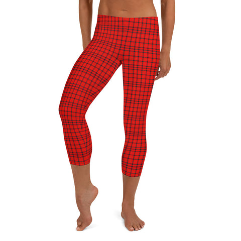 Red Plaid Print Capri Leggings, Scottish Tartan Womens Capris Tights-Heidi Kimura Art LLC-XS-Heidi Kimura Art LLC Red Plaid Print Cute Designer Capri Designer Spandex Dressy Casual Fashion Leggings - Made in USA/EU (US Size: XS-XL) Plaid Leggings, Red Plaid Leggings for Women for sale, Plaid Leggings, Plaid Tights Women, Women's Plaid Leggings, Red Plaid Leggings Womens, Red And Black Plaid Leggings