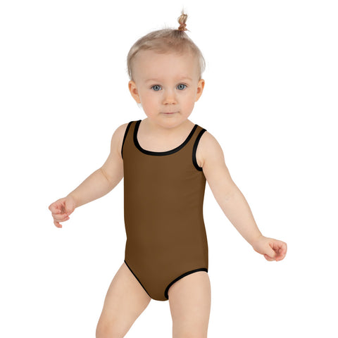 Earth Brown Girl's Swimwear, Modern Simple Solid Color Print Girl's Kids Luxury Premium Modern Fashion Swimsuit Swimwear Bathing Suit Children Sportswear- Made in USA/EU (US Size: 2T-7)
